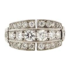 Antique Art Deco Platinum Diamond Saddle Ring