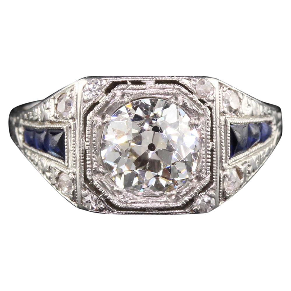 Antique Art Deco Platinum Diamond and Sapphire Engagement Ring, GIA Certified