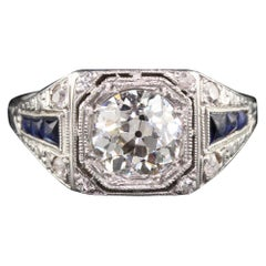 Antique Art Deco Platinum Diamond and Sapphire Engagement Ring, GIA Certified