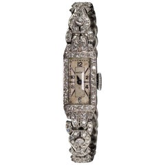 Antique Art Deco Platinum Diamond Vulcain Watch