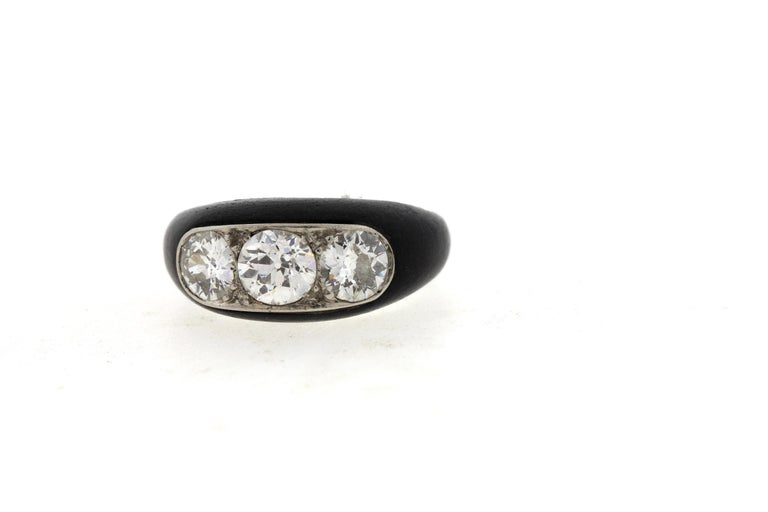 Old European Cut Antique Art Deco Platinum Ebony Three-Stone Diamond Ring For Sale