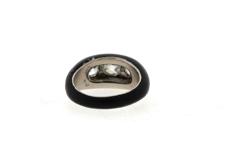 Antique Art Deco Platinum Ebony Three-Stone Diamond Ring For Sale 1