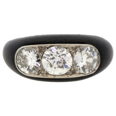 Antique Art Deco Platinum Ebony Three-Stone Diamond Ring