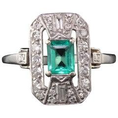 Antique Art Deco Platinum Emerald and Diamond Dinner Ring