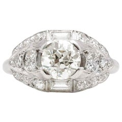 Antique Art Deco Platinum Engagement Ring Old European Cut Diamond EGL Certified