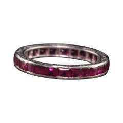 Antique Art Deco Platinum Engraved Ruby Eternity Band