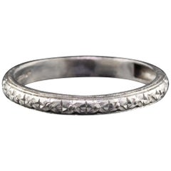 Antique Art Deco Platinum Engraved Wedding Band