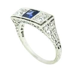 Antique Art Deco Platinum European Diamond Bezel Sapphire Filigree 3 Stone Ring