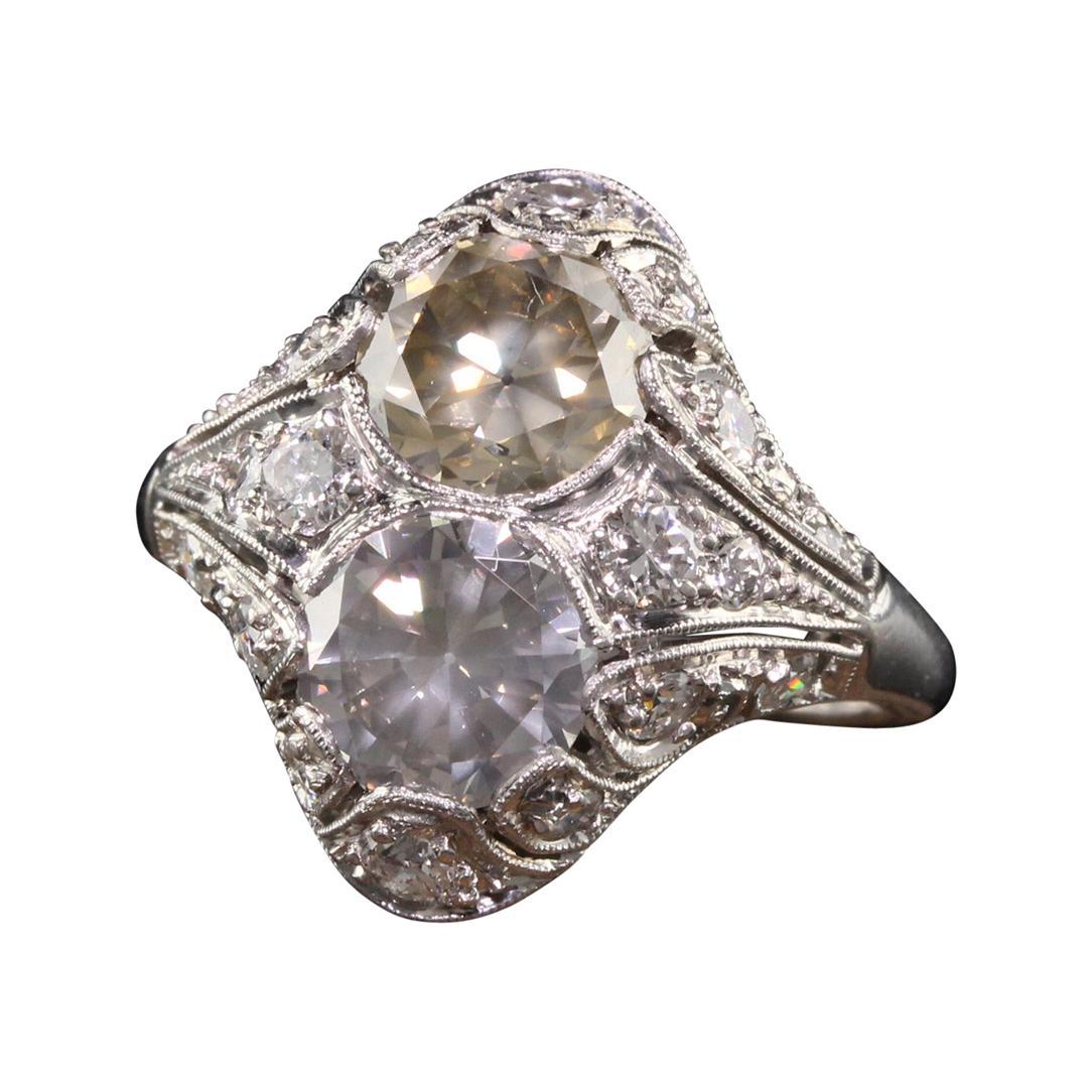 Antique Art Deco Platinum Fancy Colored Diamond Filigree Engagement Ring