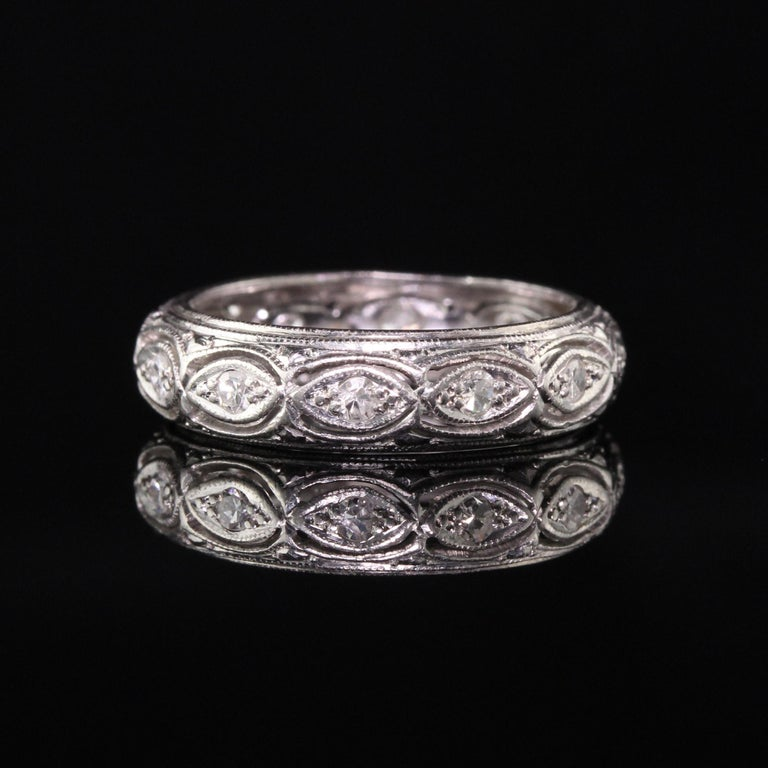 Single Cut Antique Art Deco Platinum Filigree Diamond Wedding Band For Sale