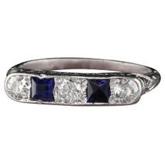 Antique Art Deco Platinum French Cut Diamond and Sapphire Wedding Band