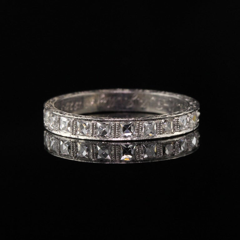 Antique Art Deco Platinum French Cut Diamond Band Ring In Excellent Condition For Sale In New York, NY