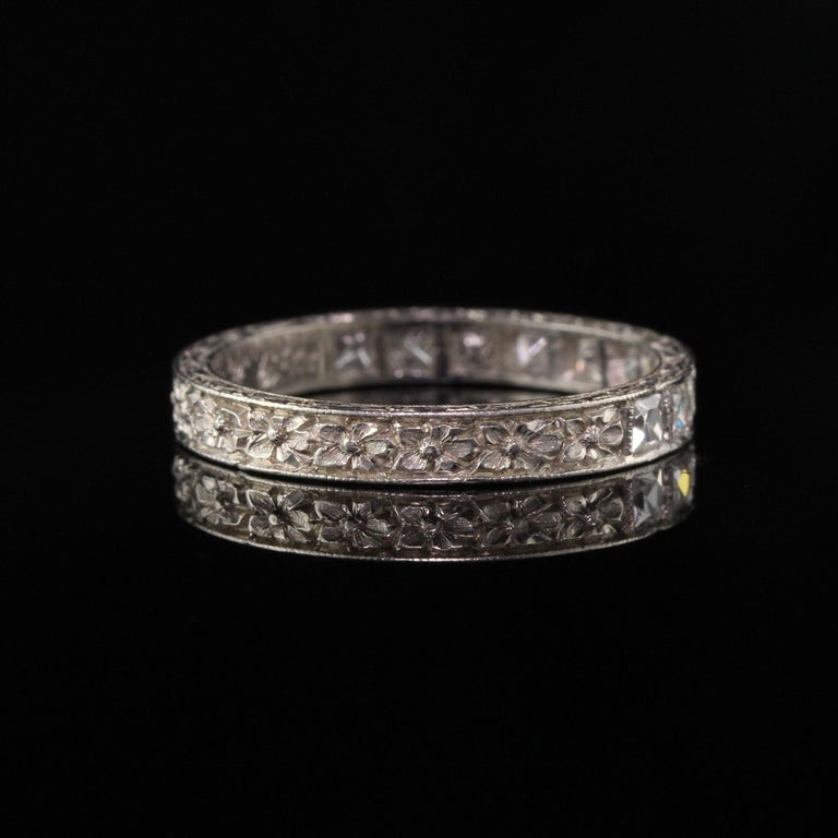Women's Antique Art Deco Platinum French Cut Diamond Band Ring For Sale