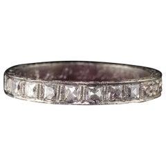 Antique Art Deco Platinum French Cut Diamond Band Ring