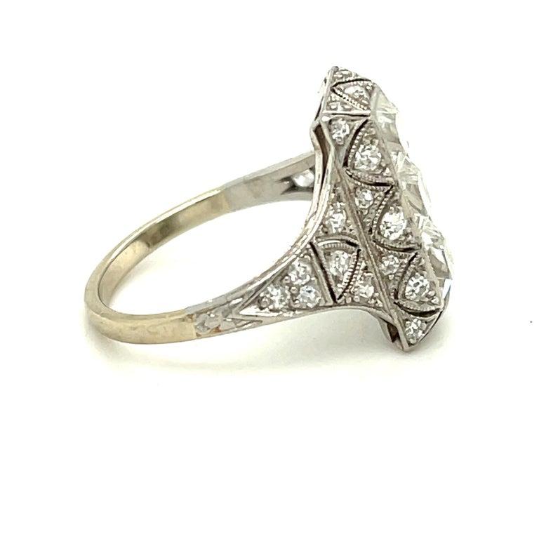 Women's or Men's Antique Art Deco Platinum French Cut Diamond Filigree Ring For Sale