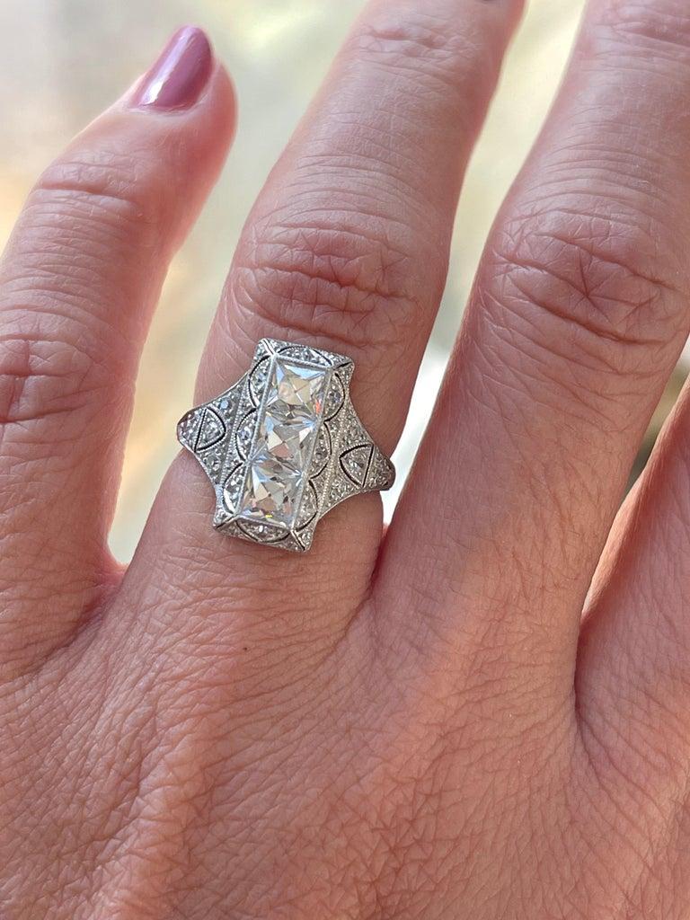 Antique Art Deco Platinum French Cut Diamond Filigree Ring For Sale 1