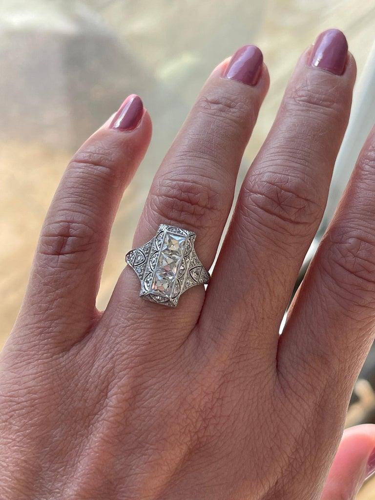 Antique Art Deco Platinum French Cut Diamond Filigree Ring For Sale 2