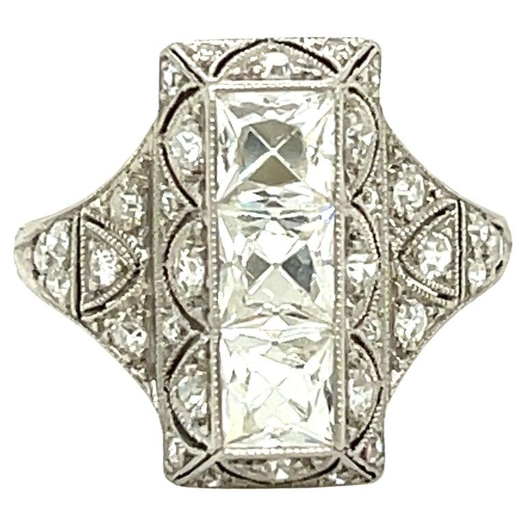 Antique Art Deco Platinum French Cut Diamond Filigree Ring For Sale