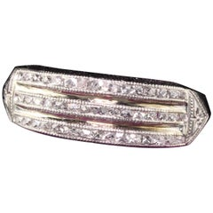Antique Art Deco Platinum French Cut Diamond Three-Row Band