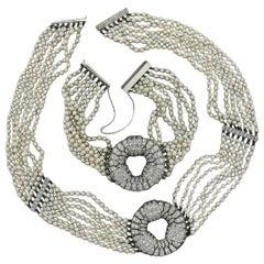 Antique Art Deco Platinum GIA Natural Pearl Diamond Strand Bracelet Necklace Set