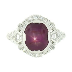 Antique Art Deco Platinum GIA Oval Cabochon No Heat Burma Star Ruby Diamond Ring