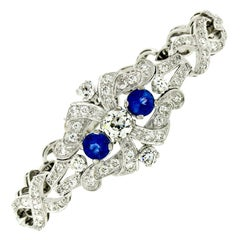 Antique Art Deco Platinum GIA Round Diamond Sapphire Infinity Leaf Link Bracelet