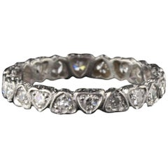 Antique Art Deco Platinum Heart Diamond Eternity Band