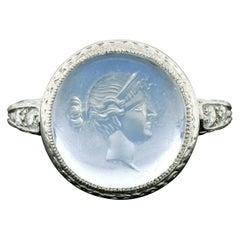 Antique Art Deco Platinum Intaglio Moonstone Old Diamond Engraved Milgrain Ring