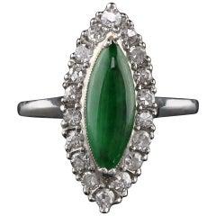 Antique Art Deco Platinum Jade and Diamond Navette Ring
