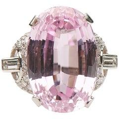 Antique, Art Deco, Platinum Kunzite and Diamond Cocktail Cluster Ring