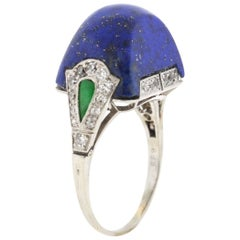 Antique Art Deco Platinum Lapis Diamond Ring