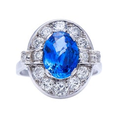 Antique, Art Deco, Platinum, Large 'Cornflower' Ceylon Sapphire and Diamond Ring