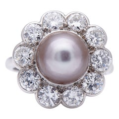 Antique, Art Deco, Platinum, Large Natural Grey Pearl and Diamond Cluster Ring