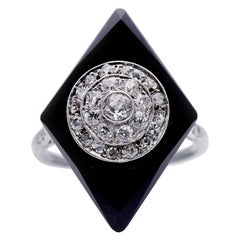 Antique, Art Deco, Platinum, Large Onyx and Diamond Cluster Cocktail Ring