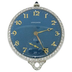 Antique Art Deco Platinum Longines 17j Diamond Bezel Blue Pendant Pocket Watch