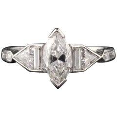 Antique Art Deco Platinum Marquise Cut Diamond Engagement Ring