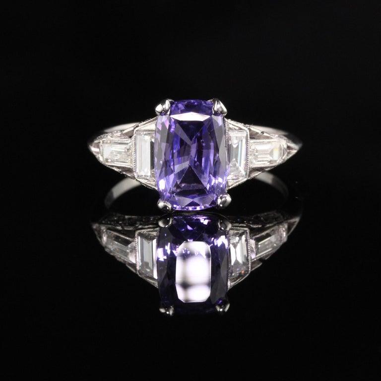 Antique Cushion Cut Antique Art Deco Platinum No Heat Purple Sapphire and Diamond Engagement Ring For Sale