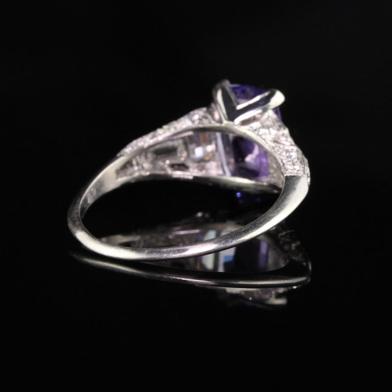Antique Art Deco Platinum No Heat Purple Sapphire and Diamond Engagement Ring In Good Condition For Sale In Great Neck, NY