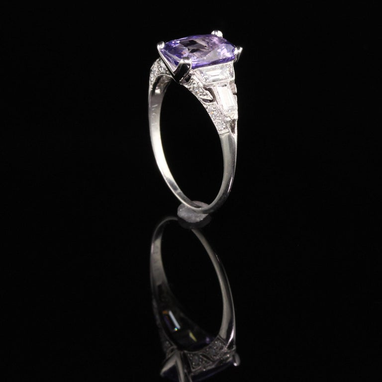 Women's Antique Art Deco Platinum No Heat Purple Sapphire and Diamond Engagement Ring For Sale