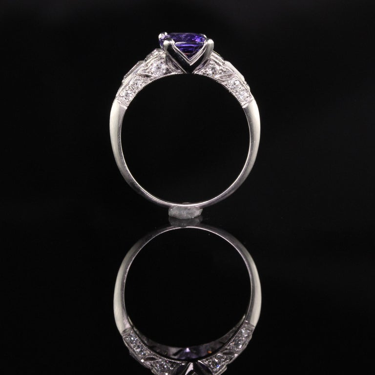 Antique Art Deco Platinum No Heat Purple Sapphire and Diamond Engagement Ring For Sale 1