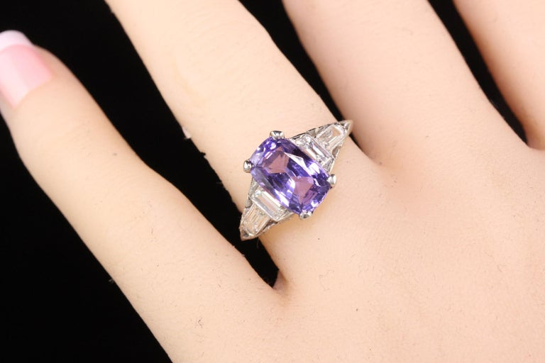 Antique Art Deco Platinum No Heat Purple Sapphire and Diamond Engagement Ring For Sale 2
