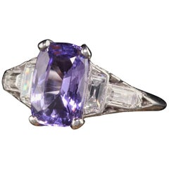 Antique Art Deco Platinum No Heat Purple Sapphire and Diamond Engagement Ring