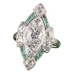 Antique Art Deco Platinum Old Cushion Cut Diamond and Emerald Shield Ring