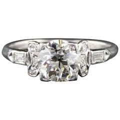 Antique Art Deco Platinum Old Cushion Cut Diamond Engagement Ring