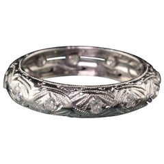 Antique Art Deco Platinum Old Cut Diamond Filigree Eternity Band