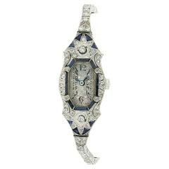 Antique Art Deco Platinum Old Diamond Calibre Cut Sapphire Dress Watch Bracelet