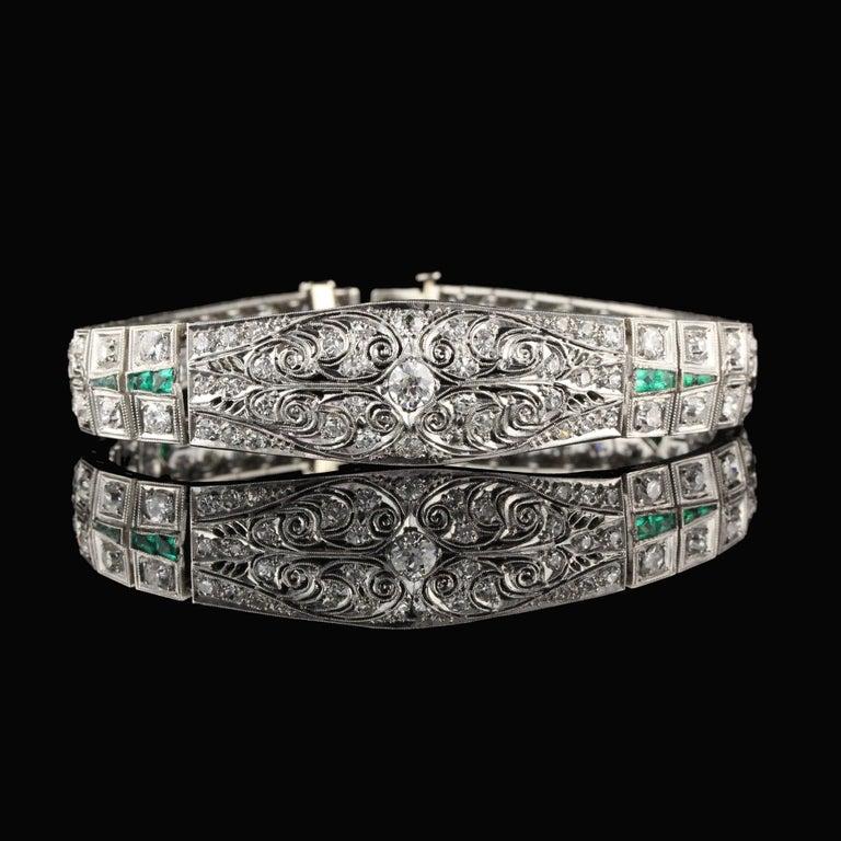 Old European Cut Antique Art Deco Platinum Old Euro Cut Diamond and Emerald Bracelet For Sale