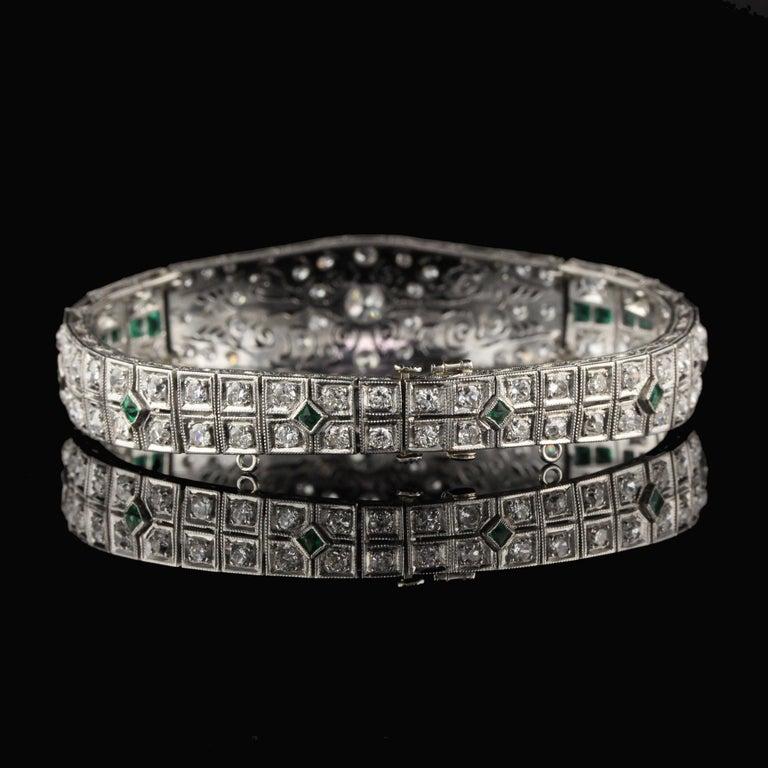 Women's Antique Art Deco Platinum Old Euro Cut Diamond and Emerald Bracelet For Sale