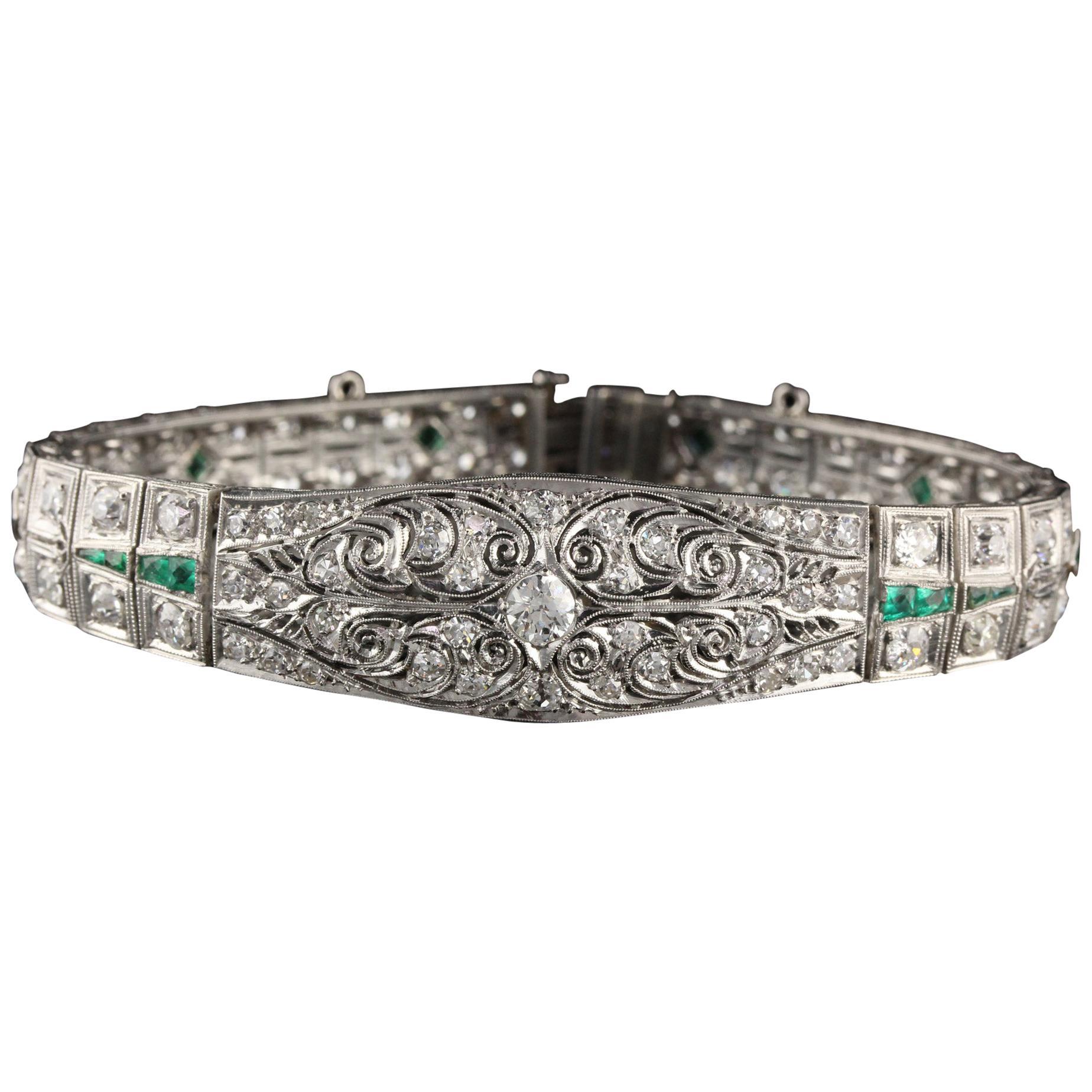 Antique Art Deco Platinum Old Euro Cut Diamond and Emerald Bracelet