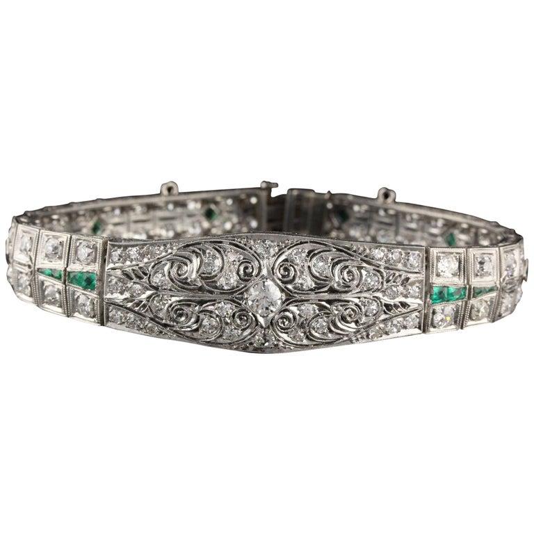 Antique Art Deco Platinum Old Euro Cut Diamond and Emerald Bracelet For Sale